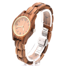 Hofost CustomWomen's Engraved Wooden Wrist Watches Personalized Leather Strap La