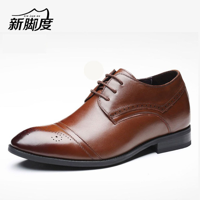 High-quality Men's Brogue Dress Shoes With Hidden Elevator Insole Height Increasing 6CM Shoes For Wedding