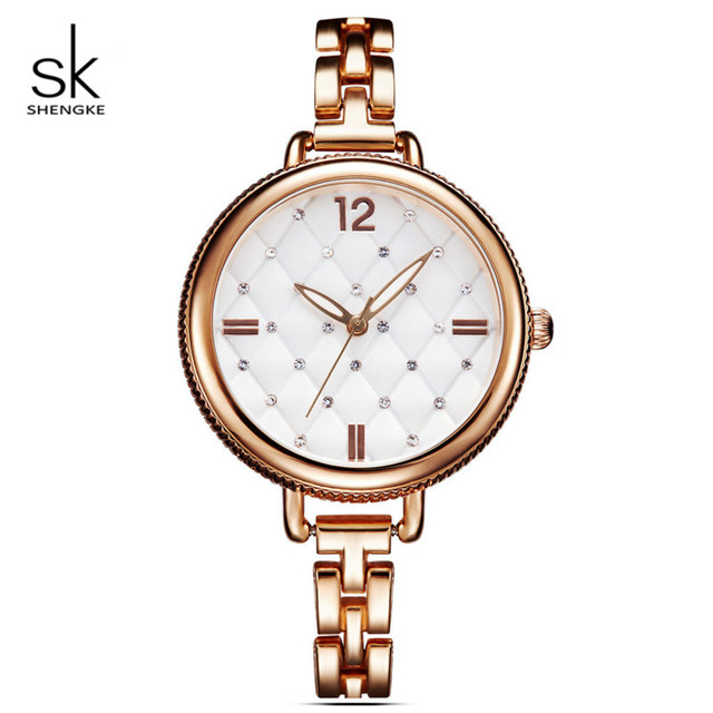 Shengke Rose Gold Watches Women Brand Luxury Quartz Ladies Wrist Watch Relogio F