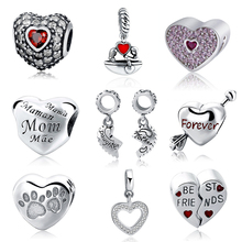 SG Hot 925 Sterling Silver charms Mom Forever Best Friend Heart Love Pendant Beads Fit pandora Bracelet for Women Jewelry