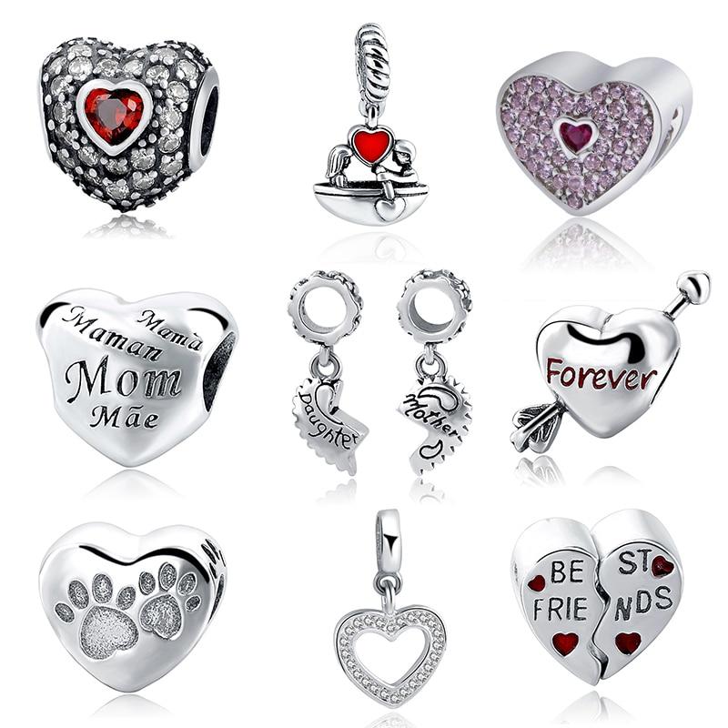 b177dfd04 Caliente SG 925 encantos de plata esterlina madre para siempre mejor amigo  corazón amor colgante de cuentas pulsera europea para la joyería de las  mujeres