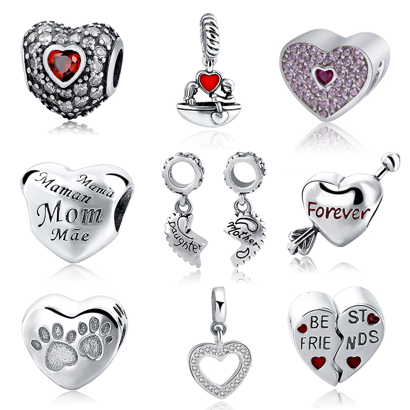New Authentic 925 Sterling Silver Charm Beads Love Mom Forever Best Friendship Bead Fit European Charm Bracelet DIY Jewelry Gift