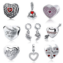 bf8193636 New Authentic 925 Sterling Silver Charm Beads Love Mom Forever Best Friendship  Bead Fit pandora Charm Bracelet DIY Jewelry Gift