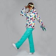Best quality Women Ski Jacket Ski Pants Breathable and Waterproof Winter Lady Ski Suit Snowboard