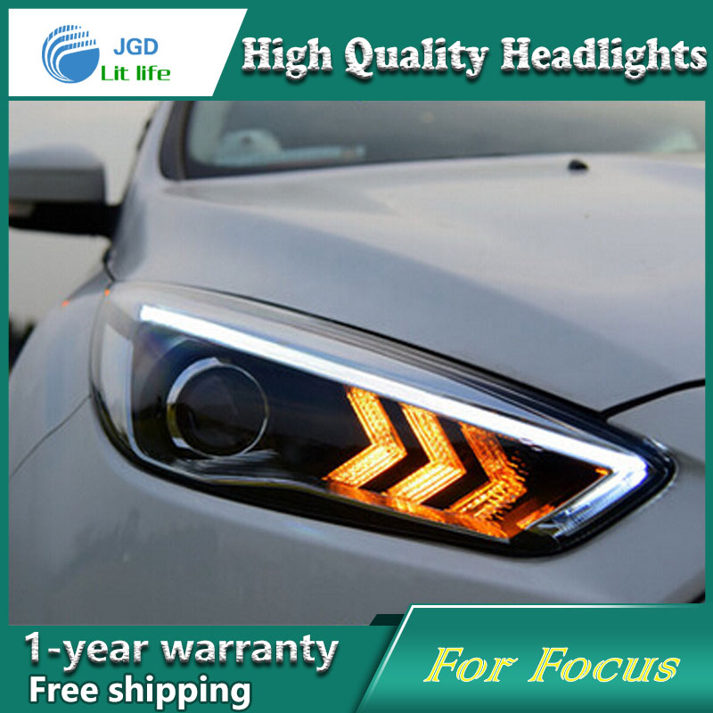Car Styling Head Lamp case for Ford Focus 2015 Headlights LED Headlight DRL Lens Double Beam Bi-Xenon HID car Accessories led headlight drl lens double beam bi xenon hid projector lamp rh lh for ford focus 2015 2016 2017 d2h 5000k 35w hi low beam