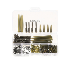 Lixada 160pcs Carp Fishing Accessory Clip Rubber Tubes Sleeves Rolling Swivels Snap Clips with Pins Terminal Tackle