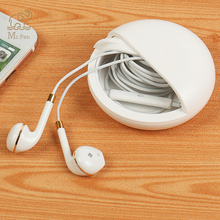 Mini White Round Plasic Headphone Case Bag Portable Earphone Earbuds Hard Box Storage for Headset USB Cable Charger Organizer