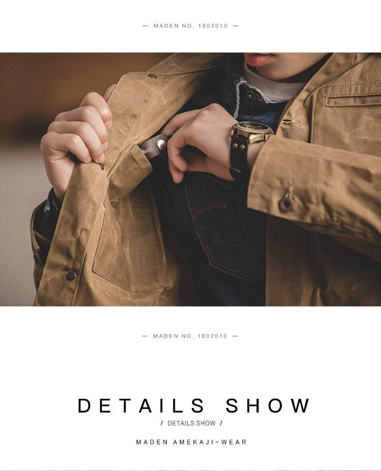 HTB1U1VqXdfvK1RjSszhq6AcGFXaB MADEN Men's Waxed Canvas Cotton Jacket Military Light Spring Work Jacket Khaki