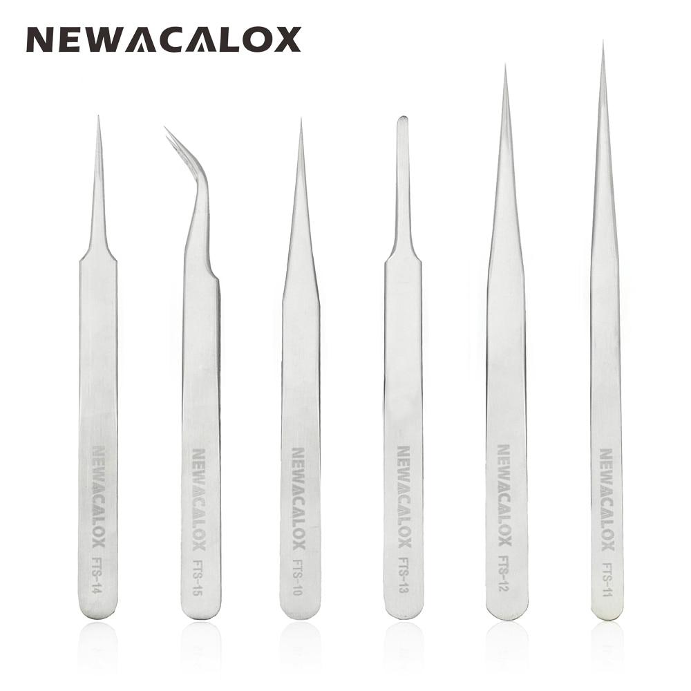 NEWACALOX Reparatur Handwerkzeuge Antistatisch säure Präzision Pinzette Non-magnet Tipps für Elektronik Schmuck-machen 6 teile/satz