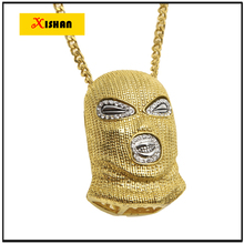 """XS917 Mens Hip Hop Heló Hacia Fuera El color del Oro Goon Máscara de Esquí Colgante W/36 """"Franco hombres colgantes collares joyería al por mayor"""