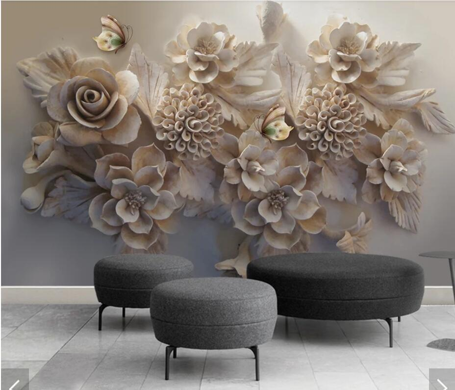 3d Embossed Flower Butterfly Wallpaper Mural Art Wall Decals Hd Printed Photo Wall Paper Papel De Parede Floral Wallpapers Mural Buy At The Price Of 9 00 In Aliexpress Com Imall Com