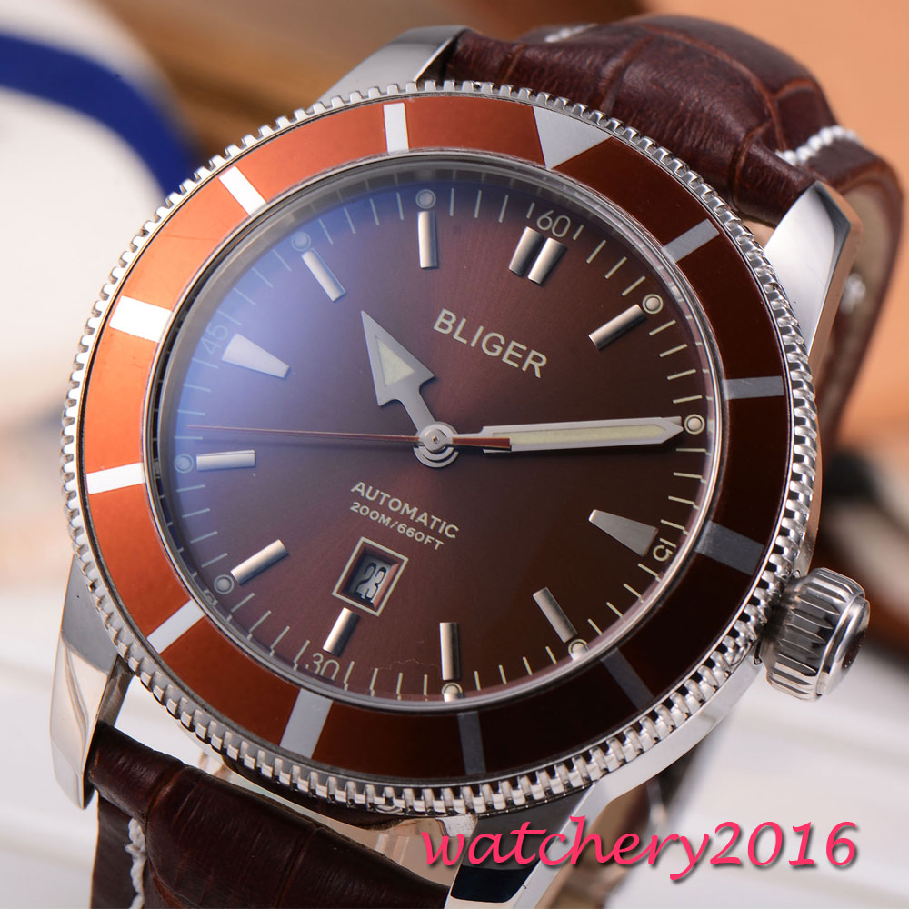 46mm BLIGER brown dial Rotating ceramic bezel date Luxury Brand Stainless steel Case Leather Automatic movement men