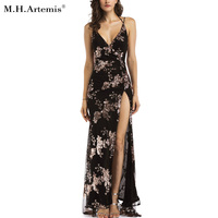 M H Artemis Sexy Sequin Maxi Slit Side Long Dress Wrinkles Backless Party Dress Elegant Chic