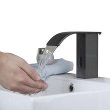 Новый Современный Sense Смесители Нефти Резиновой Щеткой Водопад Ванная кухня Раковина Кран Автоматический