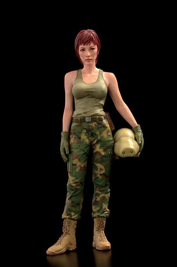 1/20 85mm résine soldats pistolet avec la rénovation d'été belle fille GK poupée blanc moule dessin animé statue rétro décoration