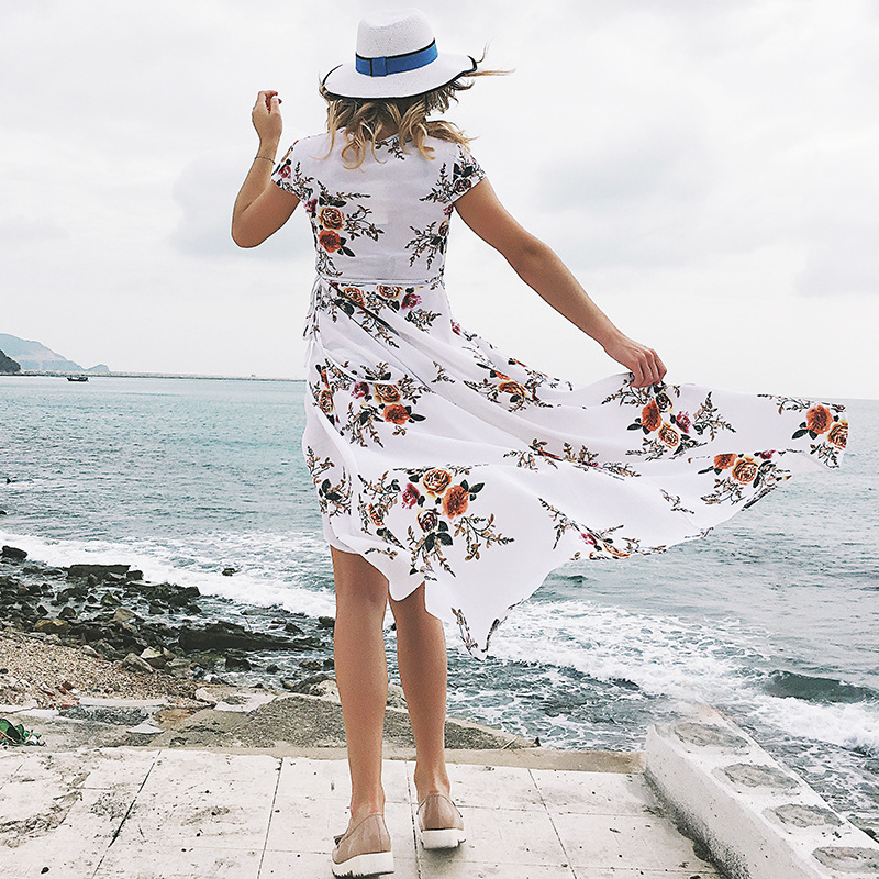 2019 Explosion Women 39 s V neck Print Chiffon Sexy Split Fork Beach Seaside Holiday Dress Summer Women 39 s Dress in Dresses from Women 39 s Clothing