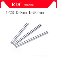 Free shipping 4pcs/lot linear shaft 8mm 500mm precision steel linear shaft L500mm cnc linear rail 8mm rod shaft 3d printer