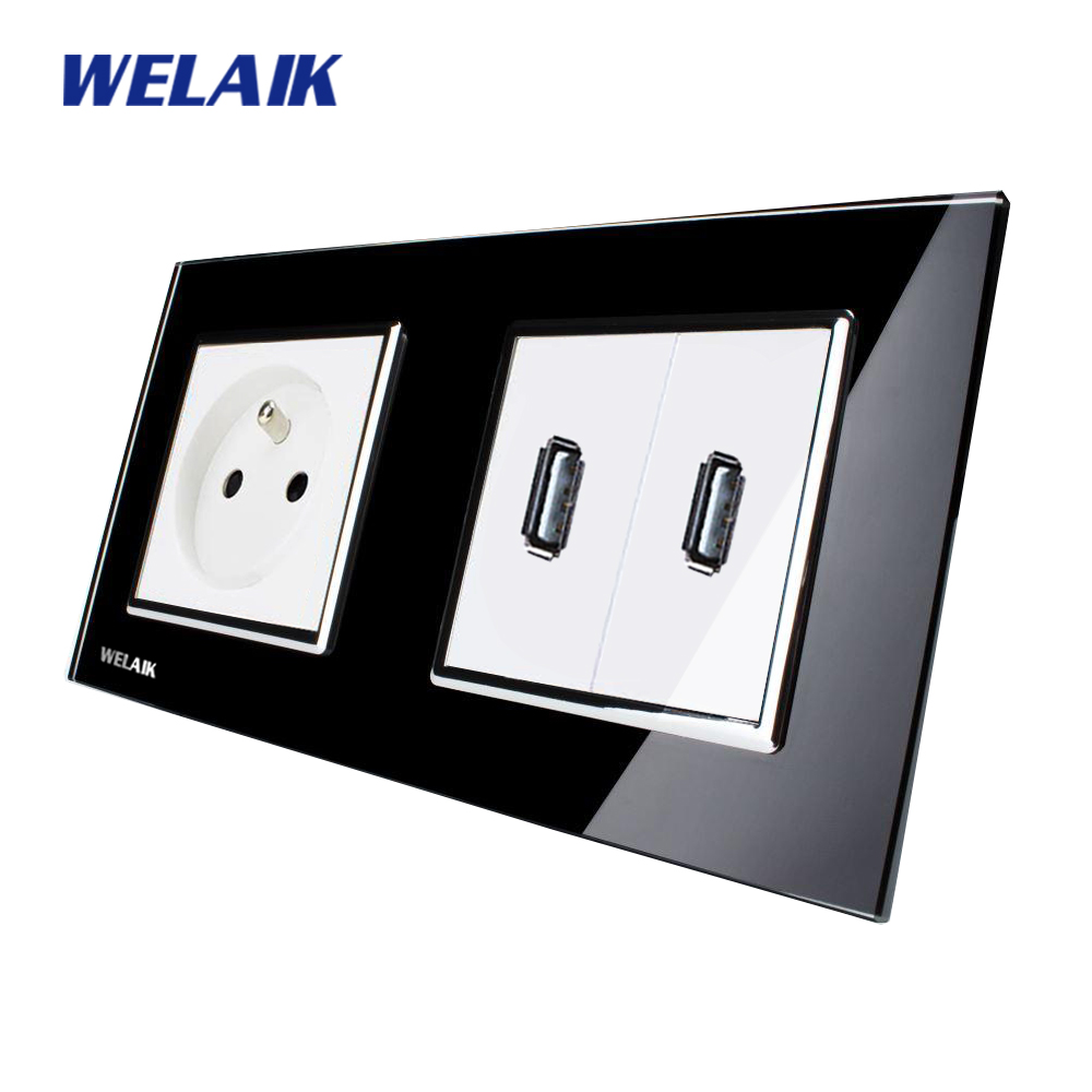 WELAIK Glass Panel Wall France USB Socket Wall Outlet Black France standard power outlet AC110~250V A28F82USB welaik glass panel wall socket wall outlet white black european standard power socket ac110 250v a38e8e8ew b