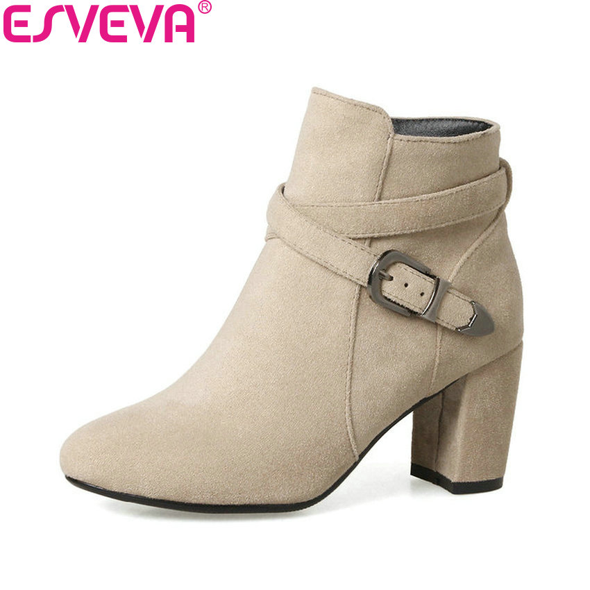 ESVEVA 2018 Women Boots Appointment Warm Fur Ankle Boots Round Toe Square High Heel Western Style Black Ladies Boots Size 34-43 esveva 2018 women boots zippers square high heels appointment warm fur pointed toe ankle boots chunky ladies shoes size 34 39