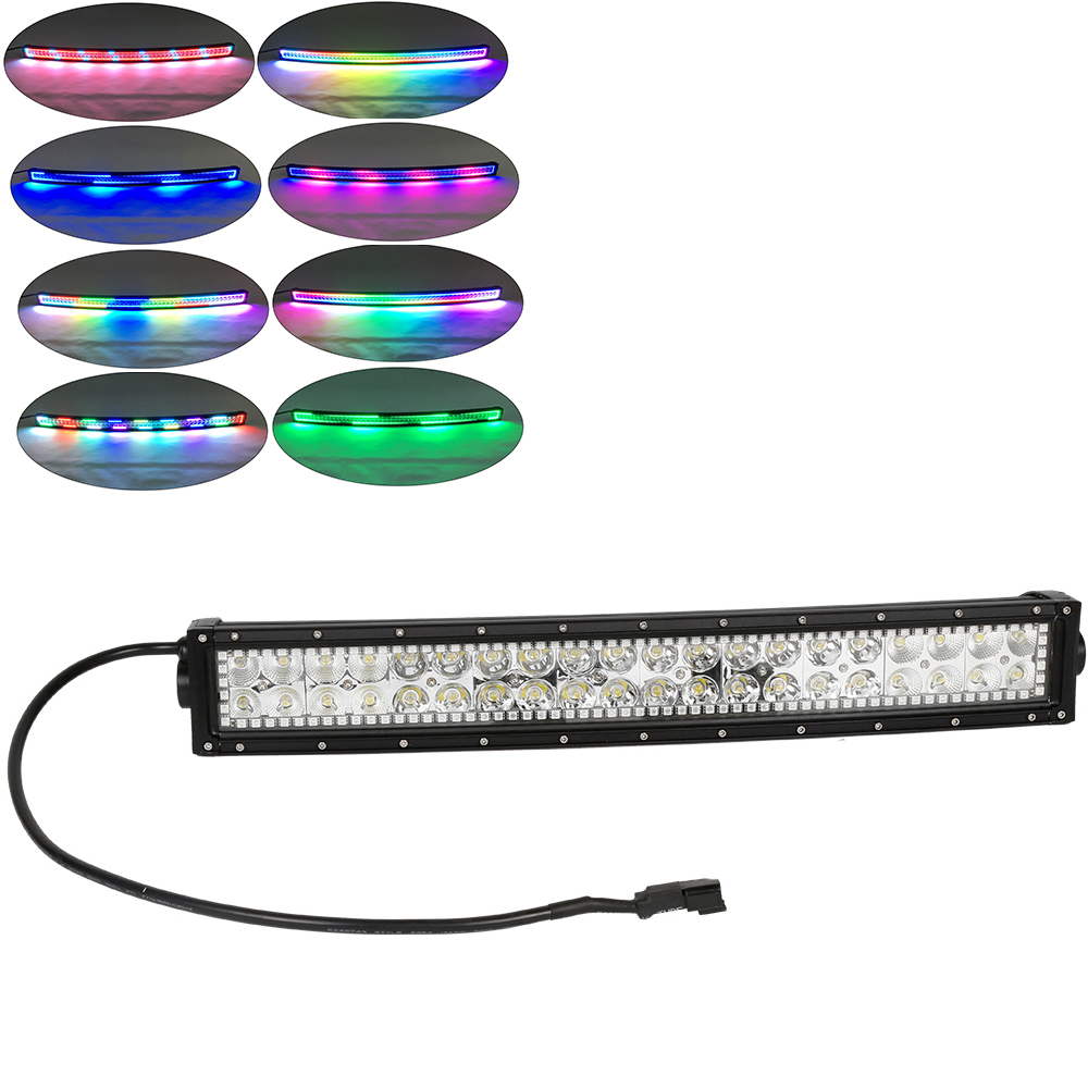 Nicoko 22 Quot 120w Curved Led Work Light Bar With Rgb Chasing