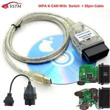 Inpa k pode com ftdi ft232rq, chip inpa k dcan com função de interruptor fácil de trabalho k pode dis sss ncs com cabo 20pin para bmw