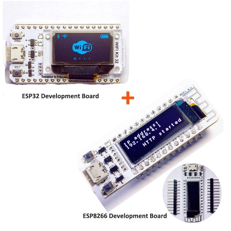 Esp32 + esp8266 kit wifi bluetooth azul oled 0.96 polegada módulo de exibição 32 m flash 3.3 v-7 v placa de desenvolvimento internet para arduino