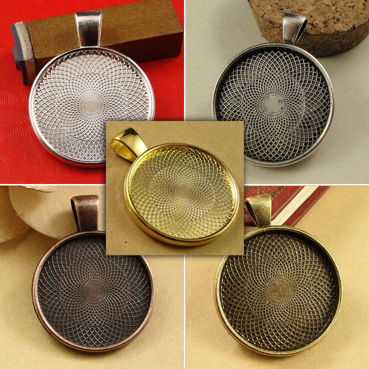 10pcs Zinc Alloy Pendant Blank with Inner 25mm Setting Tray for Glass Cameo Cabochons Diy Jewelry accessories
