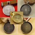 6X Zinc Alloy Pendant Blank with Inner 25mm Setting Tray for Glass Cameo Cabochons Diy Jewelry accessories