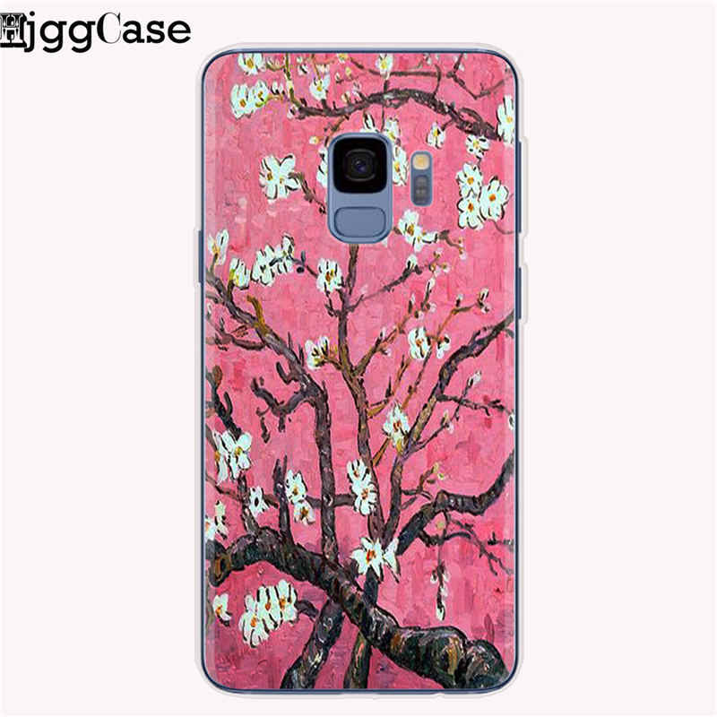 Ayçiçeği Kabartmalı telefon samsung kılıfı Galaxy A5 A7 A6 A8 Artı 2018 Van Gogh Yumuşak Kılıf için Galaxy J5 J7 J3 2017 J4 J6 Çapa