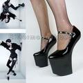 Pumps Sexy Women's Shoes High Heels Dance Shoes Black Platform Horseshoe Pumps Japanned Leather Shoes Woman Sapatos Femininos