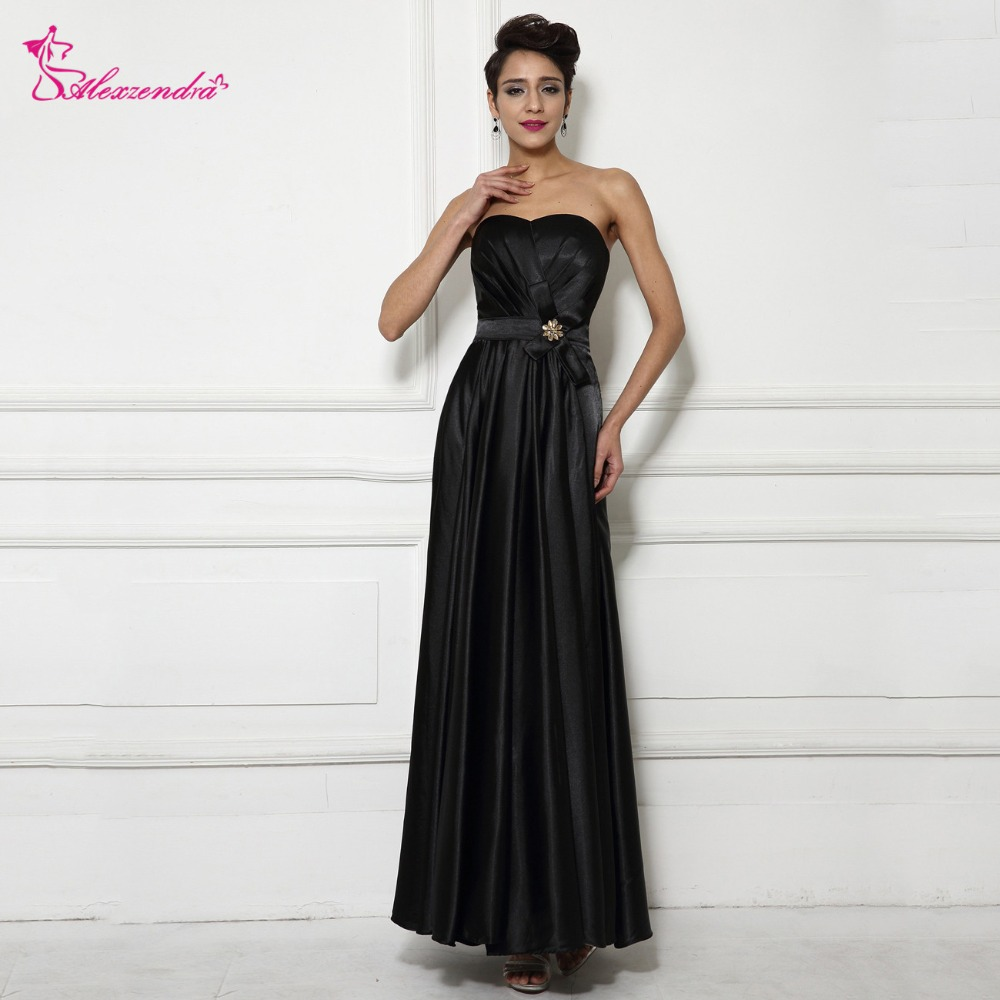 Alexzendra Black Strapless Long Simple Bridesmaid Dresses for Wedding Customzie Simple Party Dress Prom Gowns