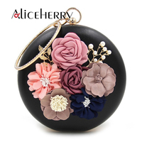 Aliceherry Famous Designer Women Handbags Ring Hand Clutches Embroidery Flowers Bags Female Wedding Evening Purses Bag