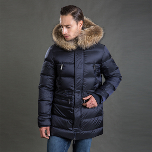 Image 2 - Hermzi 2020 男性の冬のジャケットコートパーカー厚みの取り外し可能な毛皮の襟ヨーロッパサイズブルー 4XL 送料無料