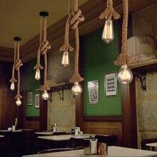 Vintage lámpara colgante de cuerdas de cáñamo cocina hogar restaurante decoración de café candelabro DIY lámpara colgante accesorio Luz