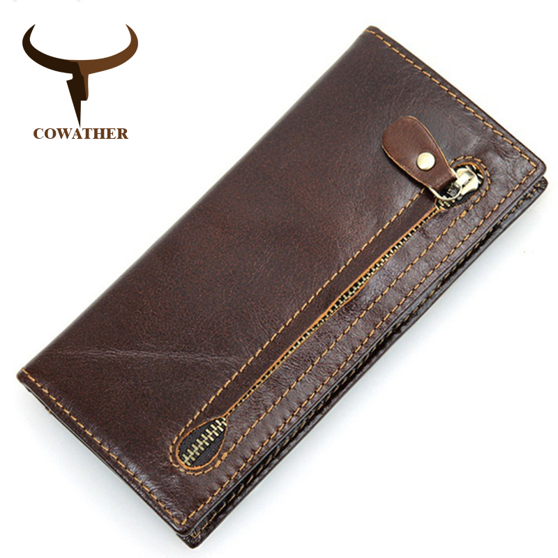 COWATHER 2017 new men wallet cow genuine leather for men top quality male purse long carteira masculina free shipping R-8122Q 2018 top quality new men wallets vintage cow crazy horse luxury leather men manual male purse carteira masculina