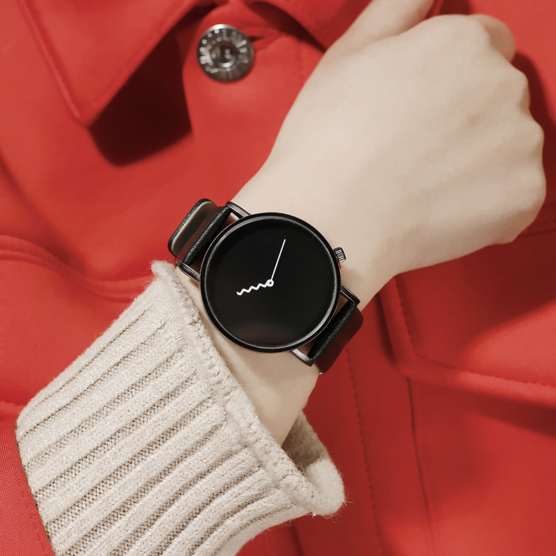 New Design Big Dial Wavy Hand Women Quartz Watch BGG Top Brand Luxury Ladies Watches Simple Casual Leather Wristwatch Relogio simple fashion hand made wooden design wristwatch 2 colors rectangle dial genuine leather band casual men women watch best gift