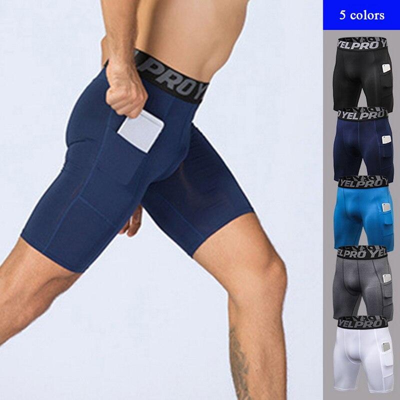 HEFLASHOR Brand New  Men Sports Gym Compression Phone Pocket Wear Under  Layer Short Pants Athletic Tights Shorts Bottoms