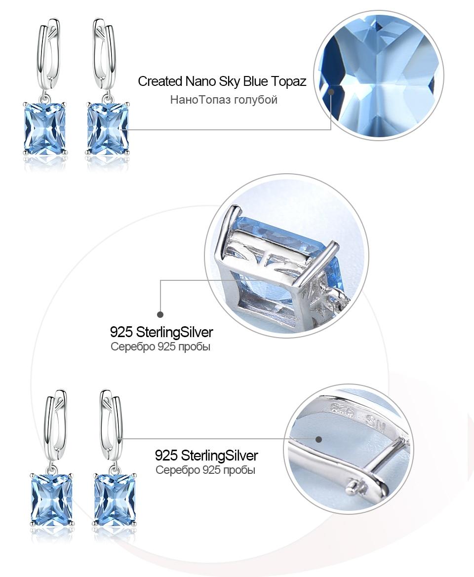 UMCHO ?Nano Sky Blue Topaz 925 sterling silver earring for women EUJ094B-1-pc (7)