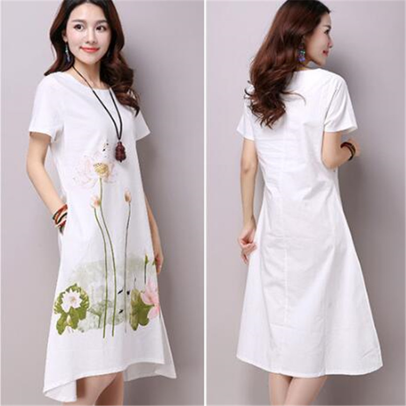 Short Sleeve White Lotus Printing O Neck Women Dresses Casual Cotton Linen Knee Length Dress Vestidos Summer Plus Size in Dresses from Women 39 s Clothing