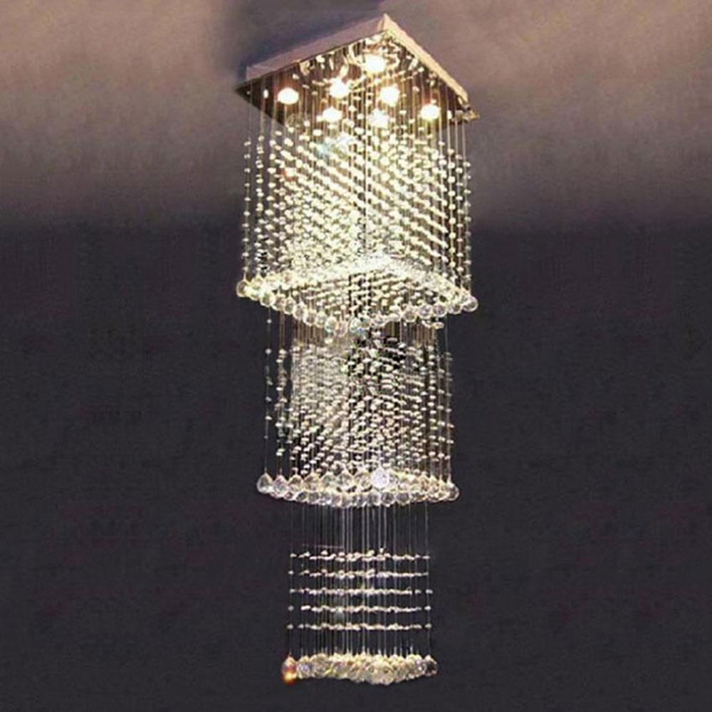 60*60*200cm raindrop lustre chandelier lighting long crystal chandeliers art deco big crystal stairwell lighting staircase luz
