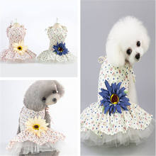Fashionable Pet Dog Dress Spring Summer Clothes Dresses Small Daisy Skirt Supplies
