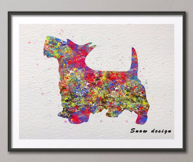 Original Scottish Terrier Watercolor Canvas Painting Dog Wall Art Poster  Print Pictures Living Room Home Decor