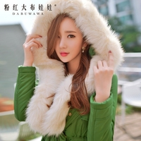 original 2017 brand new winter long hooded fashion slim waist fur collar skirt parka women wholesale