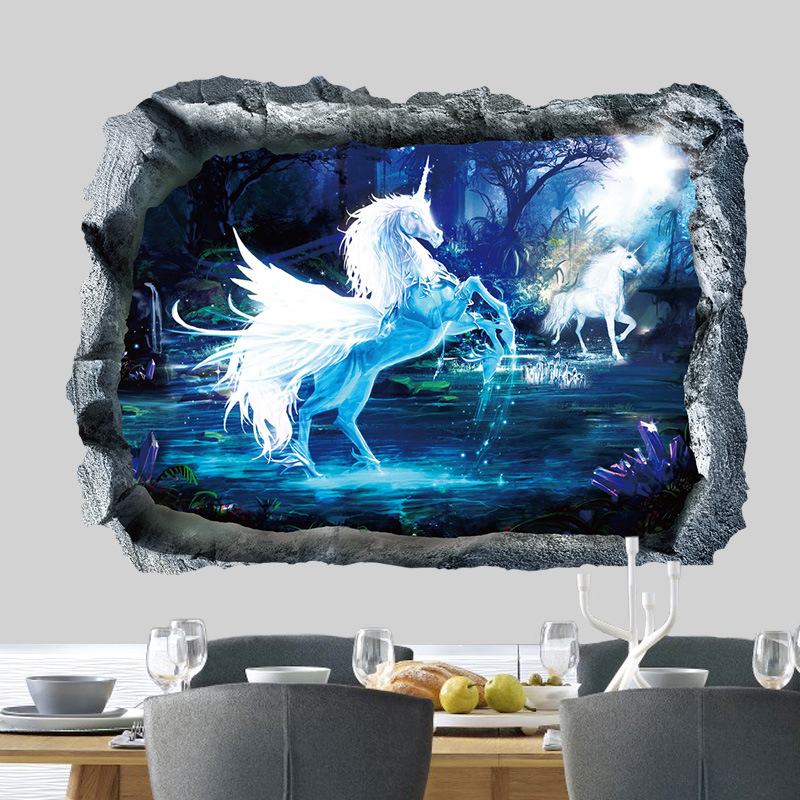 Moonlight Unicorn Blue 3D Wall Stickers for Children Bedrooms Home Decoration Kids Vinyl Wall Decals Removable Murals Baby Room