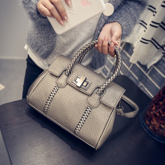 Women Leather Handbags Knitting Women Bag 2016 Fashion Leather Bags Women Bolsa Feminina Women Handbags Free Shipping Tote Bag