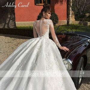 Image 5 - Ashley Carol Spitze Ballkleid Hochzeit Kleider 2020 Lange Ärmeln Prinzessin Oansatz Appliques Lace Up Taste Luxus Königliche Brautkleider
