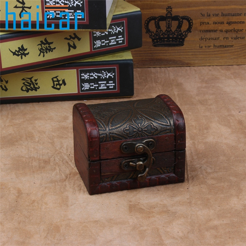 Haicar organizer 1pc Jewelry box Wood Handmade Lock Box Storage