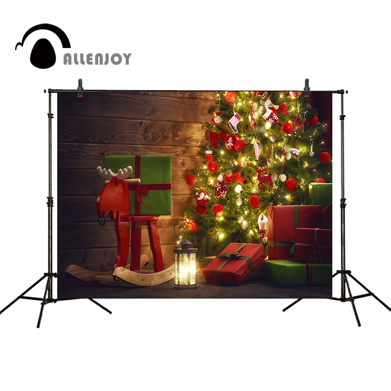 Allenjoy Christmas backdrop Christmas tree gifts elk toy lamp wooden board background for photo backdrop vinyl funds