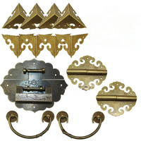 Brass Hardware Set Antique Wooden Box Knobs and Handles+Hinges+Latch+Lock+Corner Protector Furniture Decoration,Chinese Style