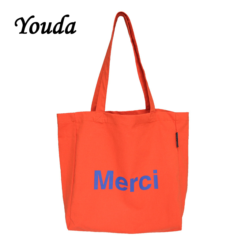 Youda Merci Letter Printing Canvas Bag Daily Leisure Wild Environmental One Shoulder Tote Bags
